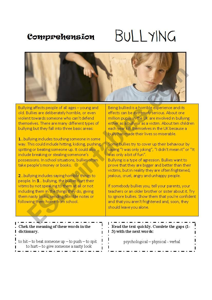 Bullying [comprehension text] worksheet